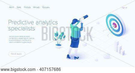 Predictive Analytics In Isometric Vector Illustration. Business Forecasting As Strategic Method Of F