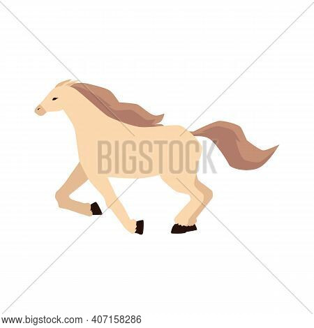 Thoroughbred Beautiful Horse Galloping A Vector Isolated Illustration.