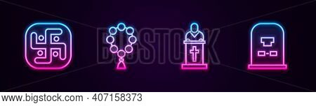 Set Line Jainism, Rosary Beads Religion, Church Pastor Preaching And Tombstone With Rip Written. Glo