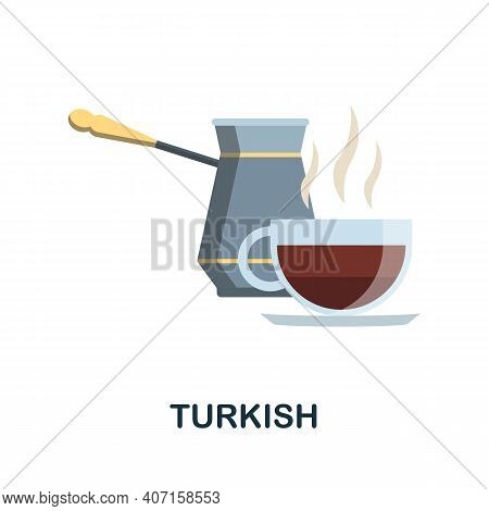 Turkish Coffee Flat Icon. Color Simple Element From Coffee Collection. Creative Turkish Coffee Icon
