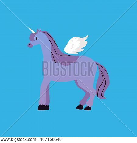 Vector Illustration Of Fabulous Winged Horse Pegasus A Character Of Legend, Myth