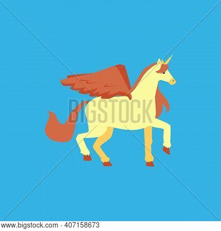 A Fairytale Unicorn, Fabulous Pony Or Winged Horse Pegasus Vector Illustration