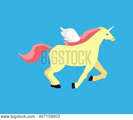A Fairytale Horse Pegasus Running At A Gallop A Vector Illustration