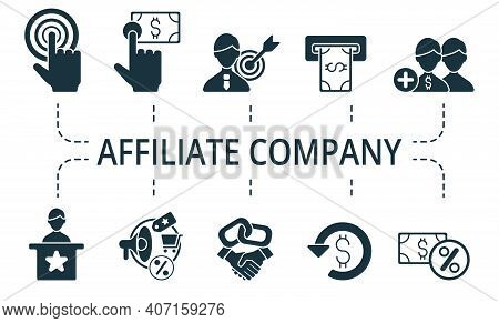 Affiliate Company Icon Set. Collection Contain Affiliate, Link, Attribution, Authority Site, Adverti