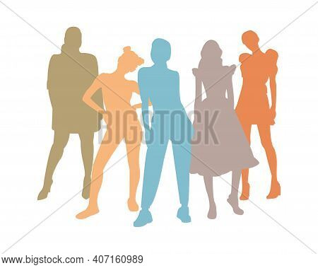 A United Community Of Women Of Different Characters And Moods, Different Styles Of Clothing And Life