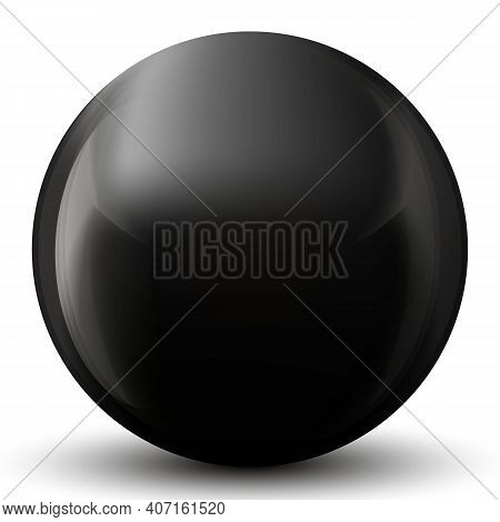 Glass Black Ball Or Precious Pearl. Glossy Realistic Ball, 3d Abstract Vector Illustration Highlight