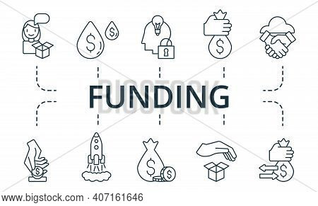 Funding Icon Set. Collection Contain Pack Of Pixel Perfect Creative Icons. Funding Elements Set.