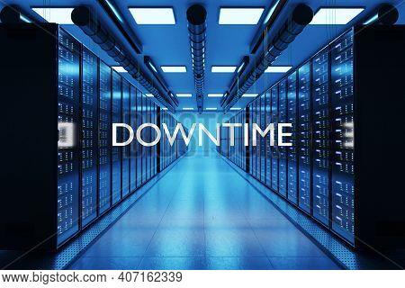 Downtime Logo In Large Modern Data Center Multiple Rows Of Network Internet Server Racks, 3d Illustr