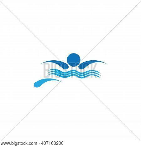 Swimming Sport Vector Logo Concept Element
