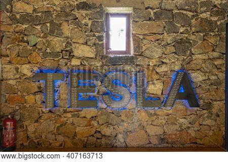 Smiljan, Croatia - Aug 12, 2020: Tesla Logo On The Wall Inside Nikola Tesla Memorial Center