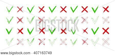 Cross And Tick Icons. Mark Of Right Or Wrong. Brush Sign Of Check. Green, Red Symbols For Ok Or Canc