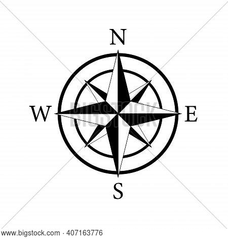 Compass Icon. Nautical Compass For Travel With Sign Of North, South, West, East. Logo For Map And Na