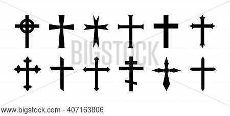 Cross Of Christian Crucifix. Icon Of Christian Cross. Symbol Of Church Of Jesus. Sign Of Catholic, R
