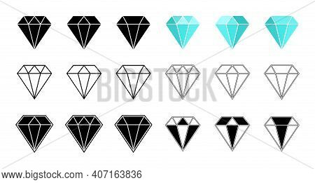 Diamond Icon. Gem Crystal. Logo Of Jewel Brilliant. Blue, Outline And Black Gemstone. Graphic Symbol