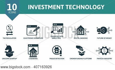 Investment Technology Icon Set. Collection Contain Online Loan, Tax Regulation, Financial Data Analy