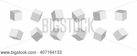 3d Cube. 3d Box In Front. White Cubic Blocks. Square Mockup With Perspective Render. Blank Cardboard