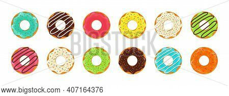 Donut And Cupcake. Doughnut With Chocolate And Glazed. Sweet Cake For Dessert. Cartoon Icons Of Donu