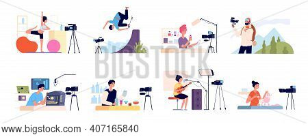 Blogger Characters. Bloggers Review, Blog Beauty Fashion Occupations. Video Vloggers, Girl Digital C