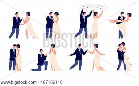 Bride And Groom. Wedding Couple, Engagement Or Marriage Party. Wed Celebrations, Cartoon Man Woman D