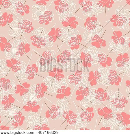Elegant Trendy Ditsy Floral Vector Seamless Pattern Design Of Water Clover Leaves. Repeating Texture