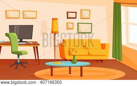 Cozy Living Room. Home Interior, Flat Modern Apartment. Contemporary Loft Design, Cartoon Cabinet Or