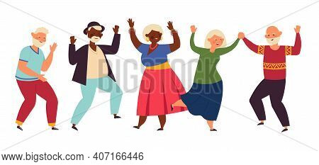 Dancing Seniors. Elderly Party, Senior People Dance Fun. Old Friends, Isolated Happy Active Grandpar