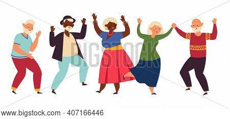 Dancing Seniors. Elderly Party, Senior People Dance Fun. Old Friends, Isolated Happy Active Grandpar