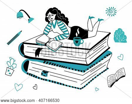 Reading Girl. Young Female Read, Outline Character Holding Book. Student Learning, Doodle Relax Or N
