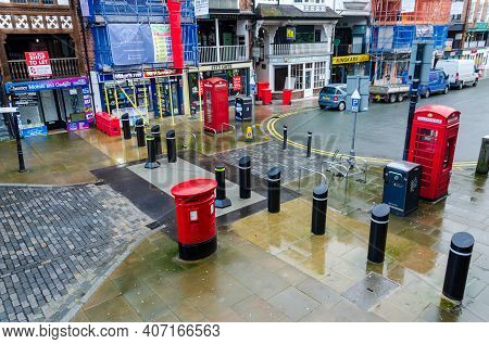Chester; Uk: Jan 29, 2021: A System Of Anti Terrorism Bollards Has Been Installed On Bridge Street I
