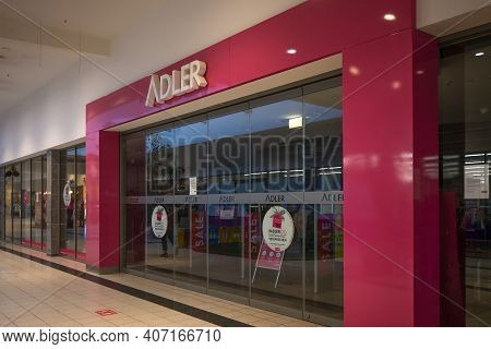 Luebeck, Germany, January 25, 2021: Closed Entrance Front Of The Insolvent Clothing Store Chain Adle