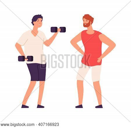 Sport Guy Swinging With Dumbbells. Sporting Workout With Personal Trainer. Isolated Flat Bodybuilder