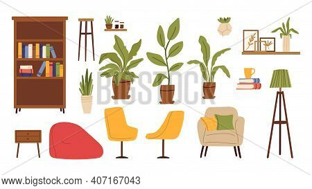 Living Room Furniture. Scandinavian Furnitures, Plants In Pot, Chairs And Shelves With Book. Isolate