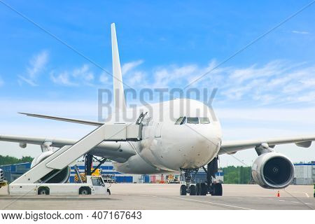 Big Jet Plane Landed And Ready To Receive Passenger