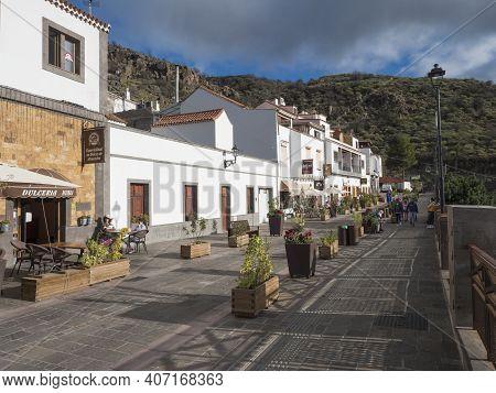 Tejeda, Gran Canaria, Canary Islands, Spain December 15, 2020: Main Street In Tejeda Picturesque Can
