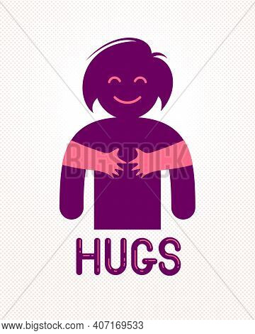 Beloved Woman With Care Hands Of A Lover Or Friend Hugging Her Around From Behind, Vector Icon Logo