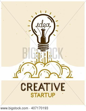 Idea Light Bulb Launching Like A Rocket Vector Linear Logo Or Icon, Creative Idea Startup, Science I