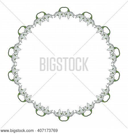 Round Frame With Snowdrops. Doodle Style. Vector Image.