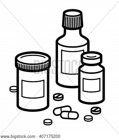 Medicine Pharmacy Theme Medical Bottles 3d Vector Illustration Isolated, Medicaments And Drugs, Heal