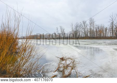 Spring Ice Drift And Melting Ice On The River. Spring Flood On The River. High Water. Spring Landsca