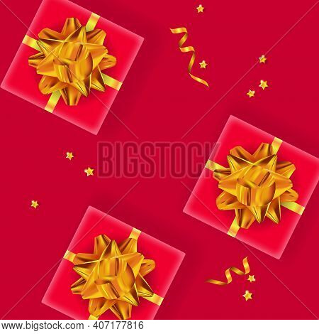Festive Background. Gift Boxes With Golden Bows, Confetti And Serpentine. Top View