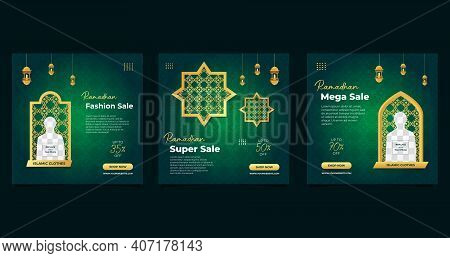 Set Of Ramadan Social Media Post Template With Green Background Suitable For Fashion Sale, Islamic E