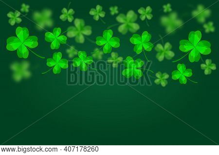 Green Happy Saint Patrick's Day Background. Abstract Bright And Blurry Luck Clovers Backdrop Templat