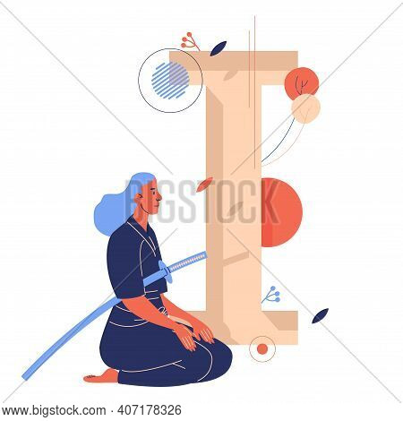 Woman Sitting On Knees With Japanese Long Sward. Capital Letter I For Iaido Training On Background.