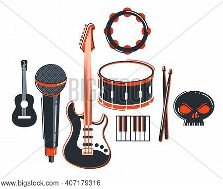 Rock Music Band Vector Flat Illustration Isolated Over White Background, Hard Rock And Heavy Metal L