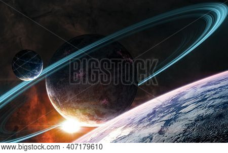 Red Sunset In Deep Space. View From Outer Space. Science Fiction. Elements Of This Image Furnished B