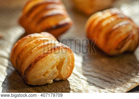 Closeup Hot Homemade Croissants From Oven, Close Up