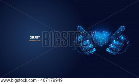 Abstract Vector 3d Human Hands Holding Or Giving Heart Symbol In Dark Blue. Charity, Volunteering, S