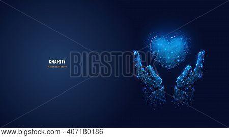 Digital Vector 3d Human Hands Holding Heart Symbol In Dark Blue. Charity, Volunteering, Social Care