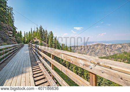 Old Railroad Bridge Over Myra Canyon In Okanagan Valley.