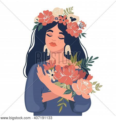 Cute Girl Holding A Bouquet Of Flowers. Vector Stock Illustration. Design For The Holiday Of Spring,